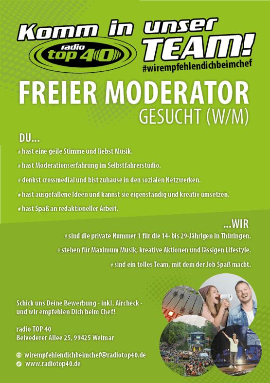 Komm in unser Team: Freier Moderator gesucht (w/m) bei radio TOP 40 #wirempfehlendichbeimchef