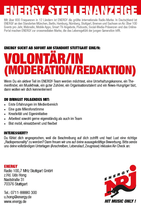 ENERGY Stuttgart sucht Volontär/in (Moderation/Redaktion)