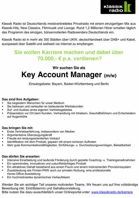 junior key account manager gehalt