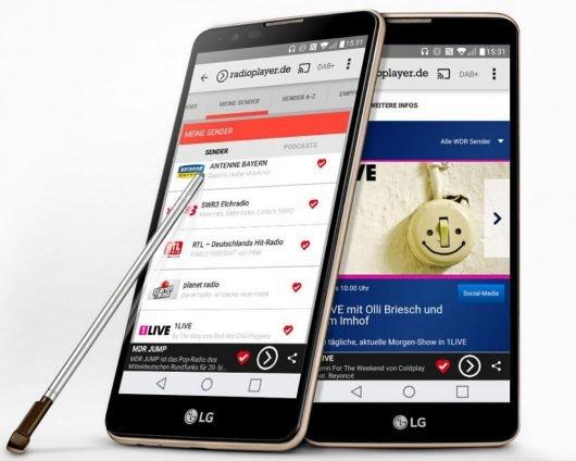 """radioplayer.de startet die weltweit erste hybride Radio-App. Entwickelt wurde sie für das neue """"LG Stylus2""""-Smartphone."""