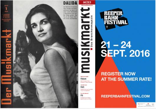 """Das erste """"musikmarkt""""-Cover vom Juni 1959 (links) und die aktuelle """"musikmarkt""""-Ausgabe vom Juni 2016"""