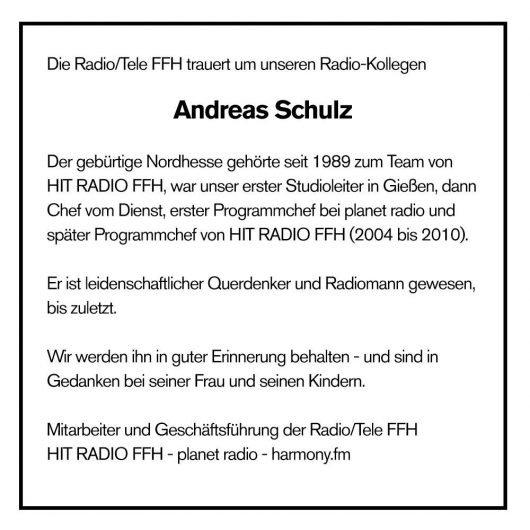 Traueranzeige für Andreas Schulz. Quelle: FFH