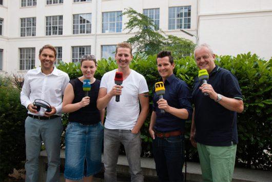 Funkhaus-Geschäftsführer Alexander Koller mit seinen Radiomachern Marion Dorr (Radio F), Guido Seibelt (Gong 97.1), Flo Kerschner (Hit Radio N1) und Gerald Kappler (Charivari 98.6)