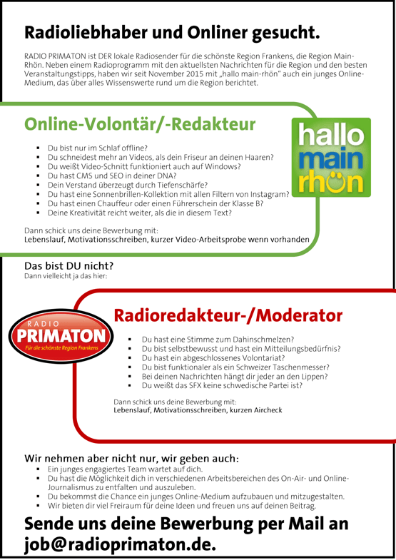RADIO PRIMATON sucht Radioliebhaber und Online