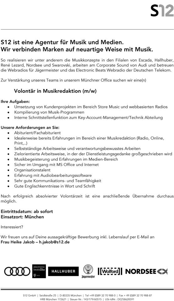 S12 sucht Volontär in der Musikredaktion (m/w)