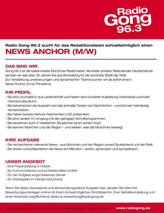 Gong 96.3 sucht einen News Anchor Primetime (m/w)