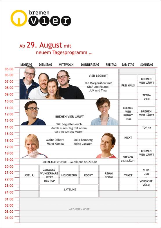 Bremen Vier - das neue Programmschema ab 29 August 2016