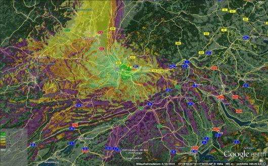 DAB Versorgungskarte Basel: Grün und Gelb zeigen den Empfang im Haus, Orange den zusätzlichen Empfang im Auto und Violett den Empfang der noch möglich ist, aber nicht mehr garantiert werden kann.