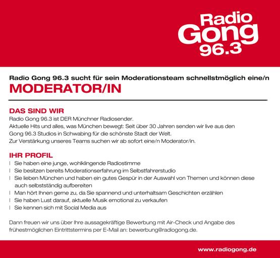 Radio Gong 96,3 sucht für sein Moderationsteam schnellsmöglich eine/n Moderator/in