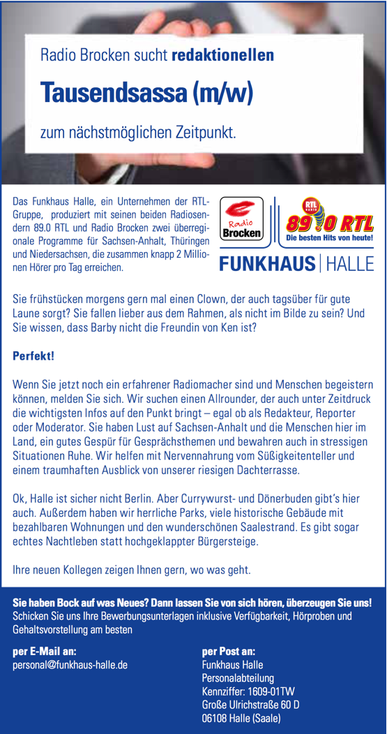 Radio Brocken sucht redaktionellen Tausendsassa (m/w)