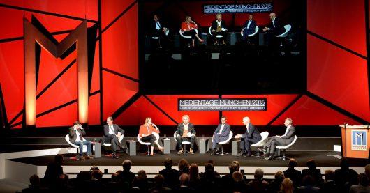 Medientage 2015: TV-Gipfel mit Jay Marine, Carsten Schmidt, Kelly Day, Thomas Gottschalk, Norbert Himmler, Wolfgang Link, Fred Kogel (Bild: ©Medientage München)