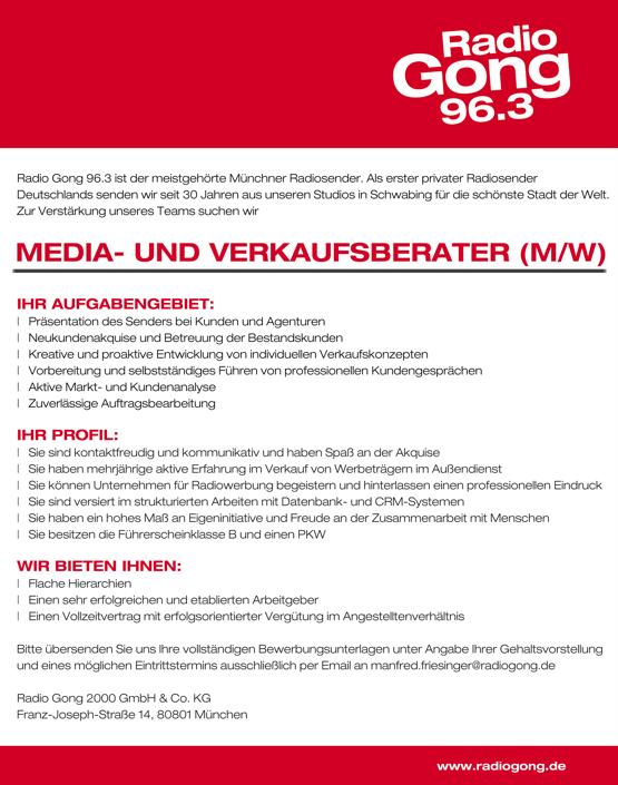 Radio Gong 96.3 sucht Media- und Verkaufsberater (m/w)