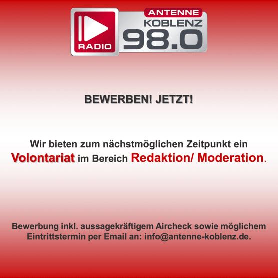 Antenne Koblenz sucht Volontär/in im Bereich Redaktion/Moderation