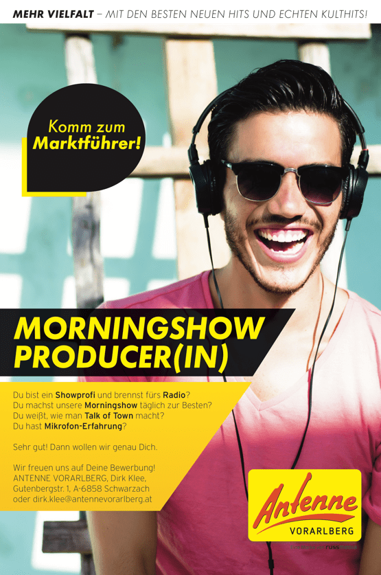 ANTENNE VORARLBERG sucht Morningshow-Producer/in
