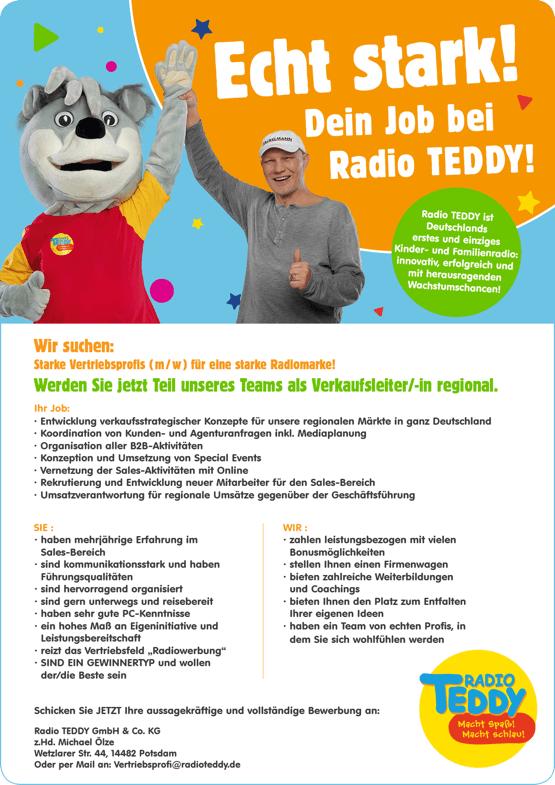 Radio TEDDY sucht Verkaufsleiter/in und Vertriebsprofis
