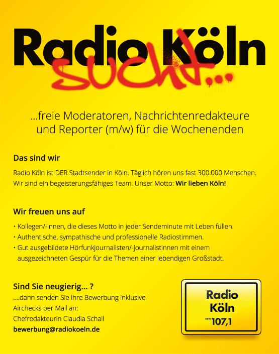 Radio Köln sucht Moderatoren, Nachrichtenredakteur, Reporter (m/w) für die Wochenenden