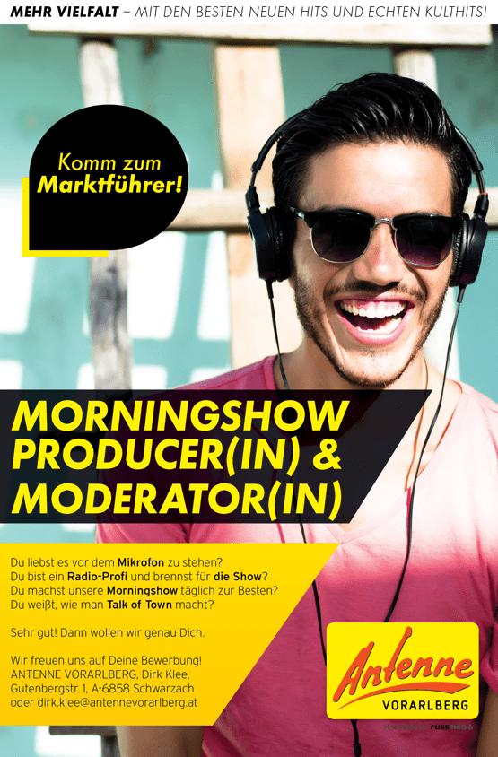 ANTENNE VORARLBERG sucht Morningshow Producer(in) und Moderator(in)