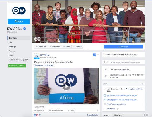 Screenshot der DW Africa auf Facebook