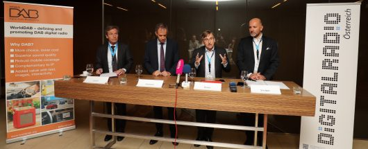 Generalversammlung des WorldDAB Forum Wien. Im Bild v.l.n.r.: Helwin Lesch, Patrick Hannon, Graham Dixon, Wolfgang Struber