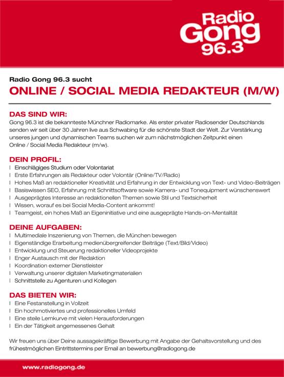 Radio Gong 96.3 sucht Online/Social Media Redakteur (m/w)