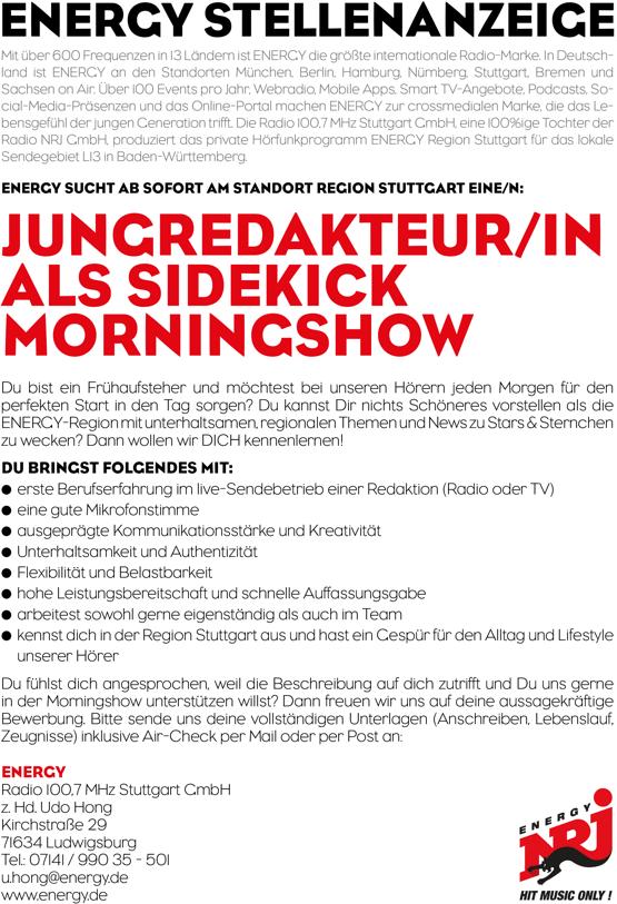 ENERGY Berlin sucht Jungredakteur/in als Sidekick Morningshow