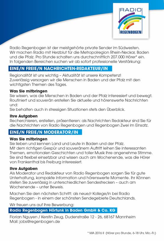 Radio Regenbogen sucht freie/n Nachrichtenredakteur/in