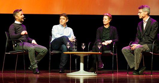 Marius Lillelien (NRK, Norwegen), Kenneth Andresen (P4/MTG, Norwegen) and Jacqueline Bierhorst (Digital Radio, Niederland), James Cridland (Bild: ©Ulrich Köring/RADIOSZENE)