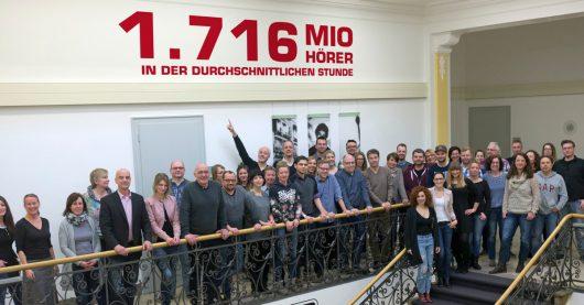 Das radio NRW-Team in Oberhausen feiert heute die tollen Reichweiten (Bild: ©radio NRW)