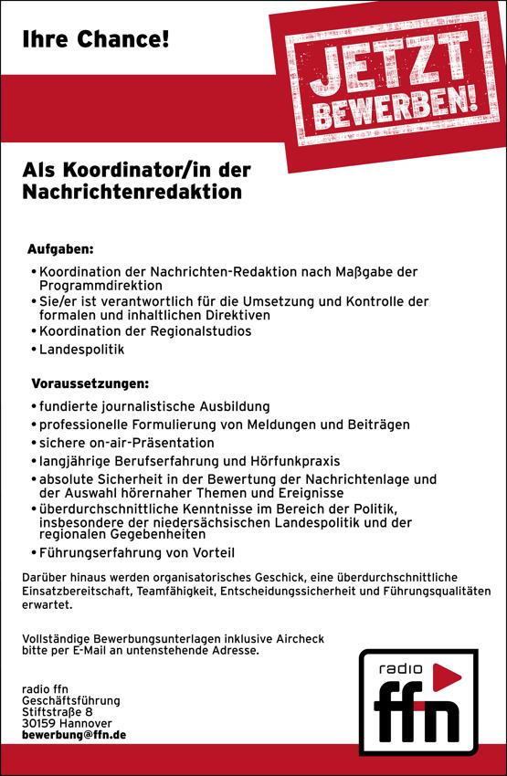 radio ffn sucht Koordinator/in der Nachrichtenredaktion