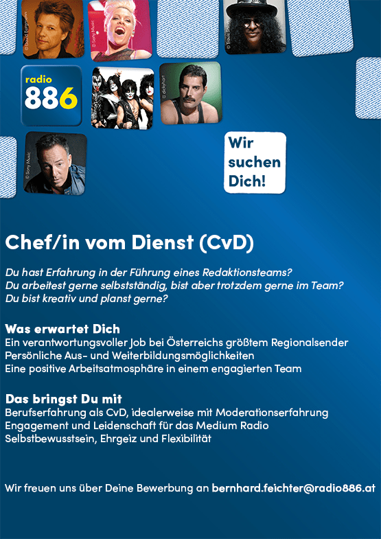 radio 886 sucht Chef/in vom Dienst (CvD)