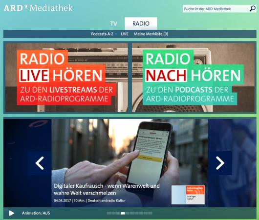 """Die neue """"ARD Audiothek"""" basiert auf der bekannten ARD-Mediathek"""
