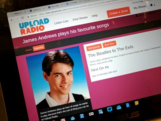 'James Andrews' auf Upload Radio (Foto: James Cridland)