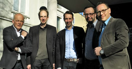 VdC-Vorstand 2017 (von links nach rechts): Thorsten Wagner (Antenne Unna), Frank Haberstroh (Radio WAF), Timo Fratz (Radio Bielefeld), Thorsten Kabitz (Radio RSG), Andreas Kramer (Radio Kiepenkerl) (Bild: ©VdC)