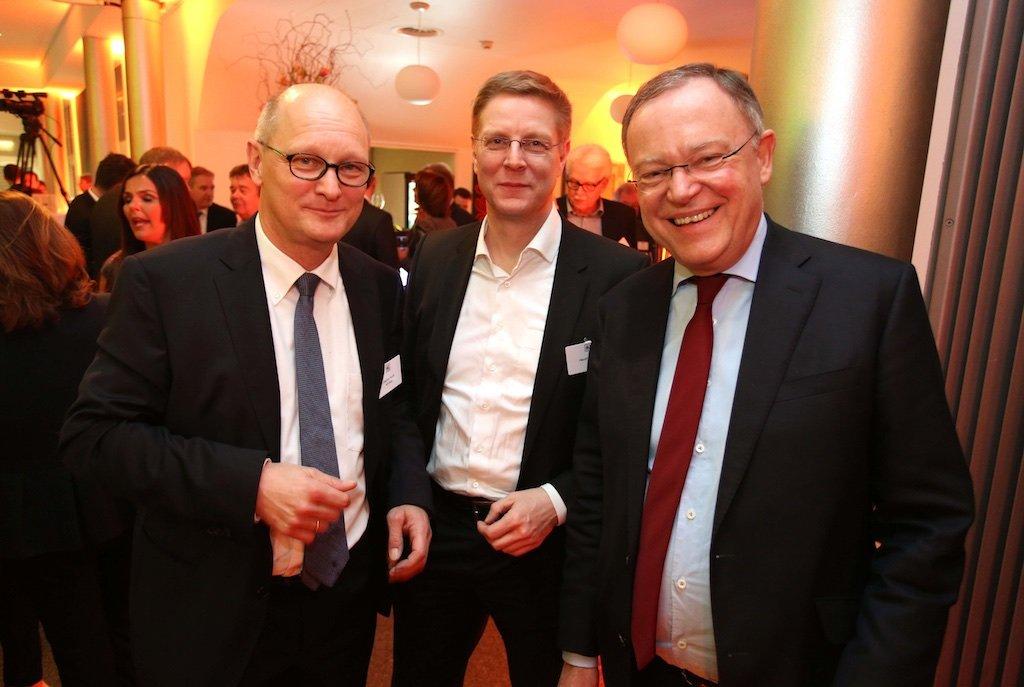 Joachim Knuth (NDR), Hendrik Brandt (HAZ), Ministerpräsident Stephan Weil