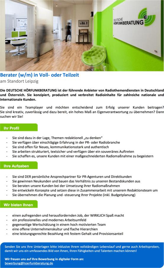 deutsche h rfunkberatung sucht berater w m in voll oder teilzeit radioszene. Black Bedroom Furniture Sets. Home Design Ideas