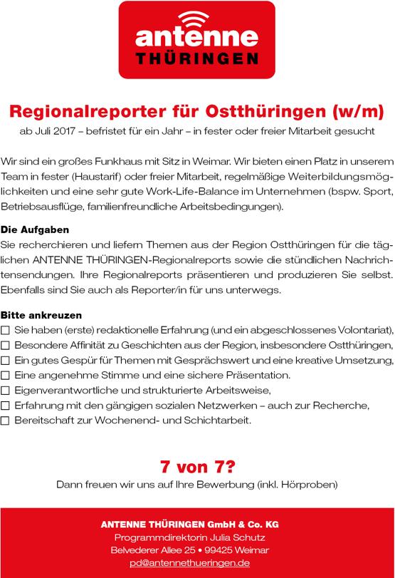 ANTENNE THÜRINGEN sucht Regionalreporter für Ostthüringen (w/m)