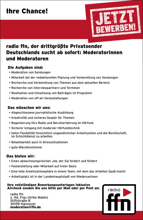 radio ffn sucht Moderatorinnen und Moderatoren
