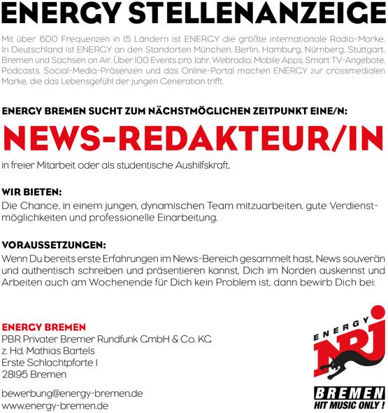 ENERGY BREMEN sucht News-Redakteur/in