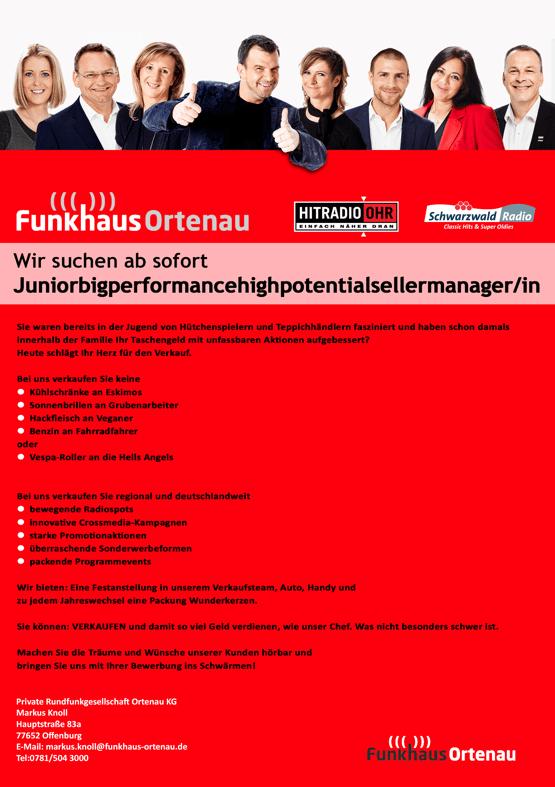 Funkhaus Ortenau sucht Juniorbigperformancehighpotentialsellermanager/in