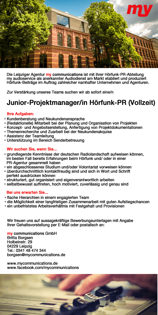 my communications sucht Junior-Projektmanager/in Hörfunk-PR (Vollzeit)