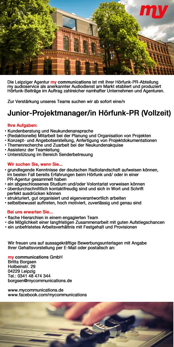 my communications sucht Junior-Projektmanager/in Hörfunk-PR (Vollzeit)