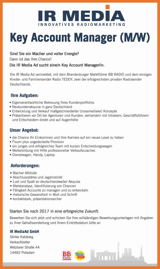 IR MEDIA sucht Key Account Manager (m/w)