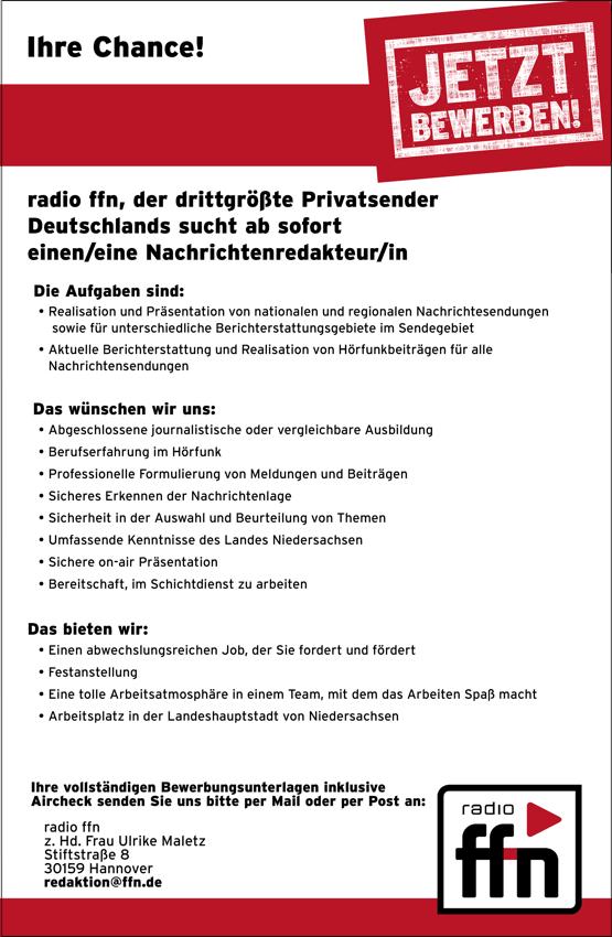 radio ffn sucht ab sofort eine/n Nachrichtenredakteur/in