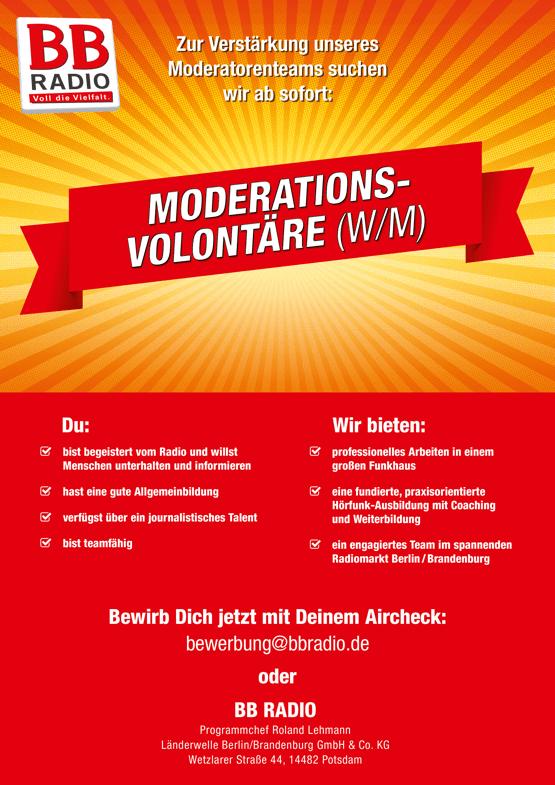Zur Verstärkung des Moderatorenteams sucht BB Radio ab sofort Moderations-Volontäre (w/m)