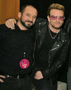 FFH-Musikchef Matthias Weber mit U2-Sänger Bono