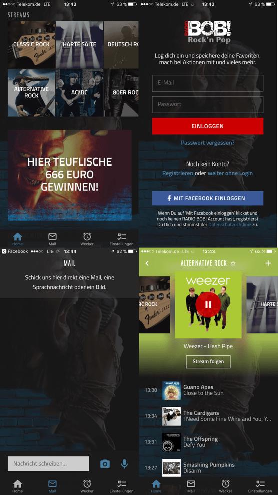 myBOB-Screens der Radio.likemee-App