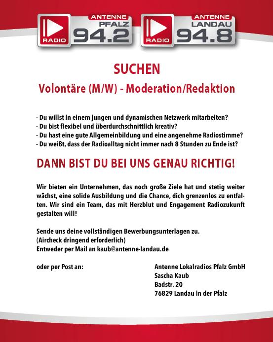 Antenne Pfalz und Antenne Landau suchen Volontäre (m/w) (Moderation/Redaktion)