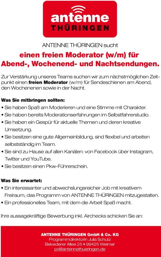 ANTENNE THÜRINGEN sucht freie/n Moderator/in | RADIOSZENE