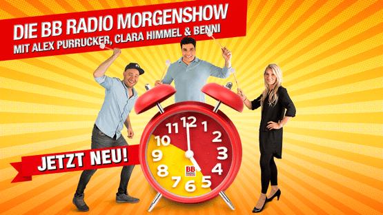 Die BB RADIO-Morgenshow mit Alex Purrucker, Clara Himmel und Benni
