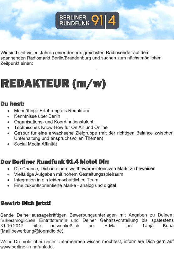 Berliner Rundfunk 91.4 sucht Redakteur (m/w)